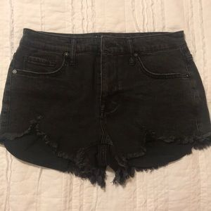 Black denim high rise shorts